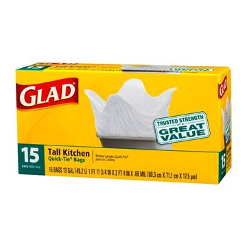 Picture of GLAD Tall Kitchen Quick  Tie Bags