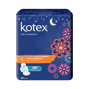 Picture of Kotex Soft & Smooth Slim Overnight Wing Heavy Flow 28 Cm Sanitary Napkins
