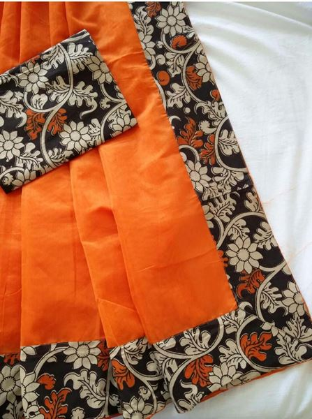 de0ecdc6b7 Picture of Orange Chanderi Cotton with kalamkari border Saree