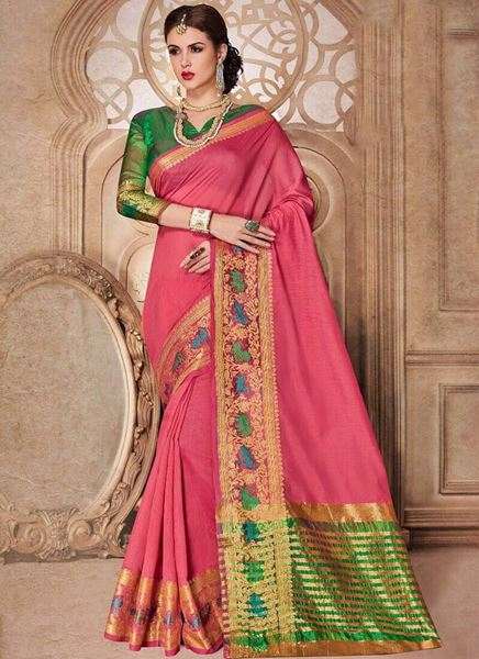 73b7a9f196 Picture of Pink Silk Cotton Saree with green and golden border