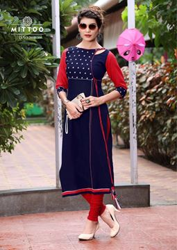 Picture of Navy Blue Priya Kurti With Red and White Simple Design