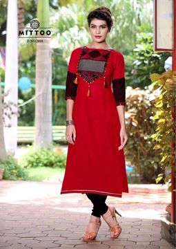 Picture of Plain Bright Red Priya Kurti With Black and Grey Designs On The Bust