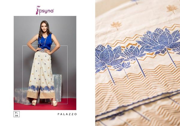Picture of C Psyna Blue Gold Lotus Printed Palazzo