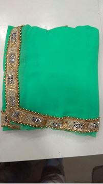Picture of Saree Blue and Green Mix With Beads