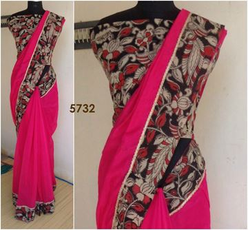 Picture of Saree Chanderi Silk Bright Pink With Kalamkari Patch Silk