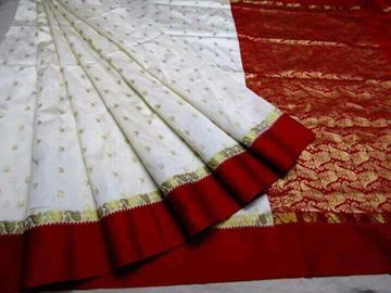 Picture of Saree Bannarasi White With Red with Blouse