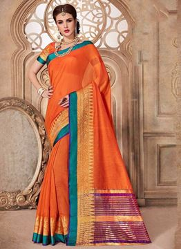 Picture of Plain Orange Silk Cotton Saree With Green and Violet Border on the Pallu Golden zari