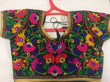 Picture of Blouse Black Flower Embroidery