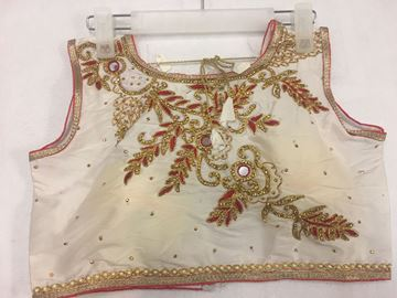 Picture of Blouse White With Maroon and Gold Designs