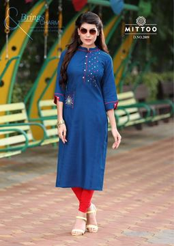 Picture of Plain Dark Blue Priya Kurti With Small Designs