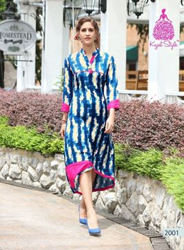 Picture of Blue and Cream Femina Kurti With Pink Border