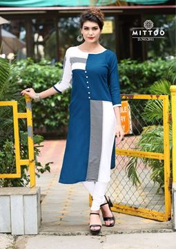 Picture of Half Blue and White Priya Kurti With Black Designs