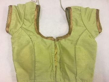 Picture of Blouse Pista Green Plain With Golden Beads