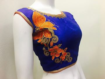 Picture of Blouse Navy Blue With Orange Boat NEck butterfly design