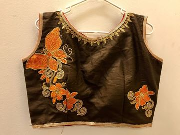 Picture of Blouse Brown with Orange Butterfly design