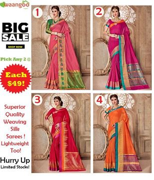 Picture of Weaving Silk Sarees (COMBO OFFER Set Of 2)