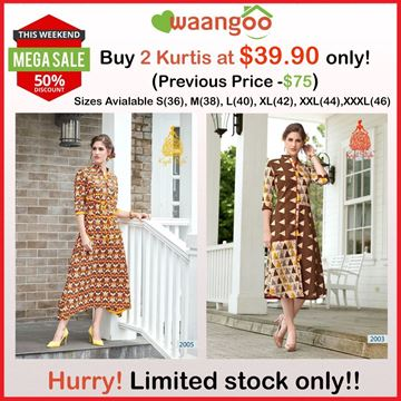 Picture of Brown Floral Femina Kurti With White and Yellow Designs & Brown Femina Kurti With Cream and Yellow Half Diamond