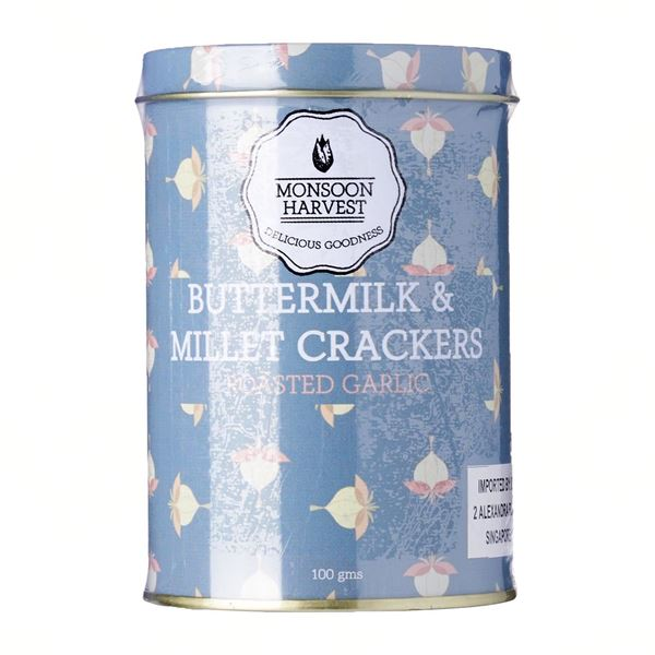 Picture of Monsoon Harvest Buttermilk & Millet Crackers with Roasted Garlic (Certified ORGANIC)
