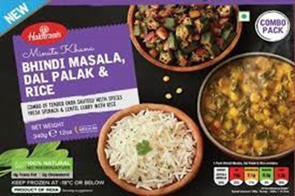 Picture of Haldiram's Bhindi Masala Dal Palak With Peas Rice (Chilled)