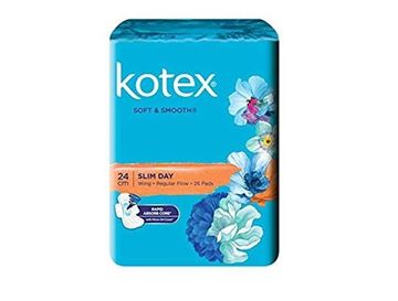 Picture of Kotex Soft & Smooth Slim Wing Regular Flow 24 Cm Sanitary Napkins