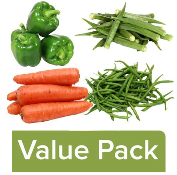 Picture of COMBO4 ~ Fresh Ladies Finger + French Beans + Carrot + Capsicum Green 2 Pcs