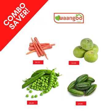 Picture of COMBO ~ Red Carrot + Tinda + Whole Green Peas + Pointed Gourd
