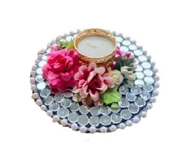 Picture of Handmade Floral T Light With Beaded Pearls For Festive Home Decor (1 Mirror Work Mat)