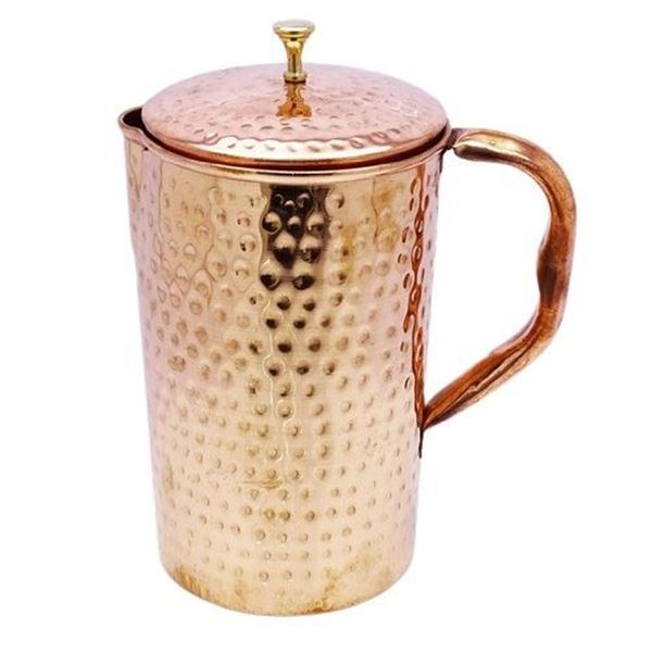 Picture of Saga Hammered Copper Water Jug With Lid