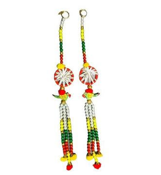 """Picture of Multicolour Beads Door Toran With Parrot & Thread Rings Set (16"""")"""