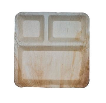 Picture of Peshwai's Areca Leaf Disposable Square Plates (With Compartment)