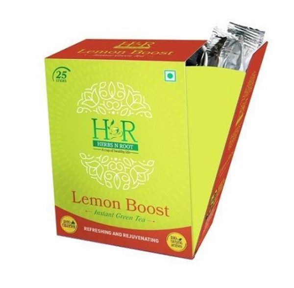 Picture of Herbs N Root 100% Natural Lemon Boost Instant Green Tea Sticks