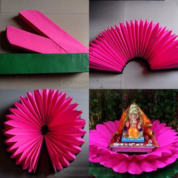 Picture of Hand Crafted Fancy Paperwork Lotus Aasan / Throne For Ganesha