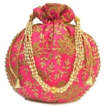 Picture of Designer Raw Silk Potli Bag With Golden Zari & Thread Embroidery Work PINK Colour for Gifting (Ganesh Puja Navratri & Diwali)