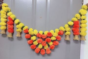 Picture of Artificial Marigold Fluffy Flowers Welcome Toran