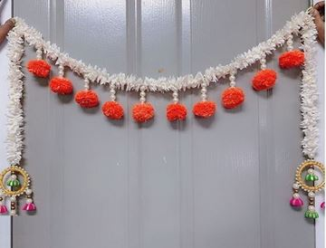 Picture of Artificial White Flower & Marigold Fluffy Flowers Welcome Toran With Threaded Jumkas